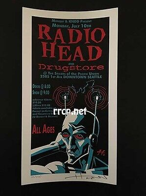 Radiohead Seattle 7/10/95 S/n Silk Screen Handbill Mini Poster Ed Of 250 Rare!!