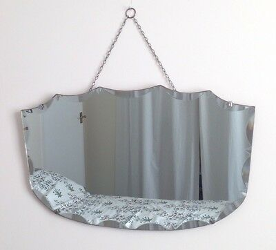 Vintage Art Deco Iconic Frameless Beveled Edge Hanging Wall Mirror With Chain