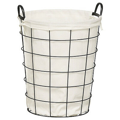 NEW Metal Laundry Hamper - Black Metal frame with fabric lining