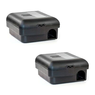 ALEKO Trap Mice and Mouse Locked Box No Touch Snap Black Lot of 2