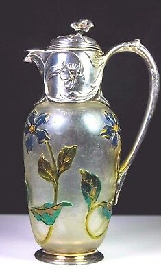 Antique French Christofle Gallia Cameo Glass Silver Plated Nouveau Claret Jug