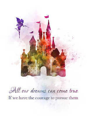 ART PRINT Disney Castle Quote illustration, Princess, Gift, Nursery, Wall Art