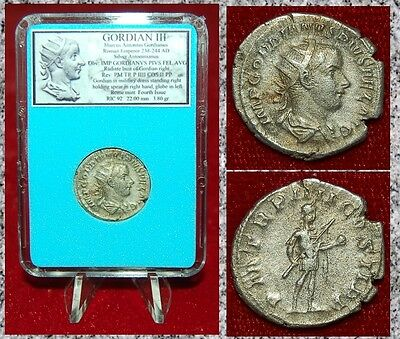 ANCIENT ROMAN COIN GORDIAN III in Military Dress on Reverse Silver Antoninianus