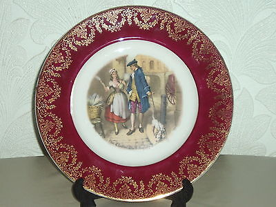"""vintage 10.5"""" FENTON PLATE Cries of London """"Who'll buy my lavender"""" RED & GILT"""