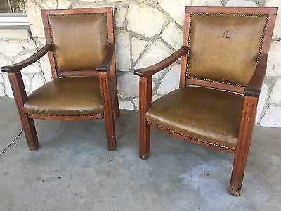 Mission Style Oak Deacon Chairs Nailhead Leather