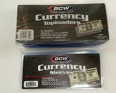 10 BCW Regular Dollar Bill Currency Toploaders and 10 BCW Money Sleeve Protector