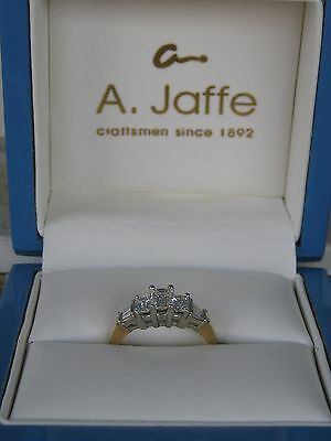 A.jaffe Emerald Cut Diamond Trilogy 1.00Tcw 3 Stone Ring 18K Gold With Box