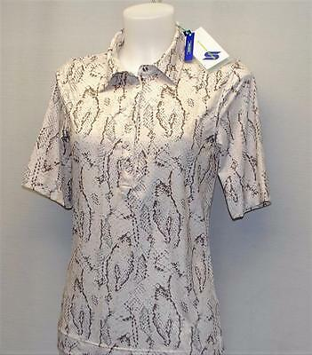 New Ladies Daily Sports Snakeprint print polyester spandex golf polo shirt Small