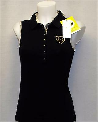 New Ladies Daily Sports Black cotton spandex sleeveless golf shirt top XS