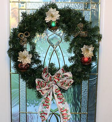 "Christmas Wreath Holiday Deco Front Door 18"" Windows Wreath Handmade"
