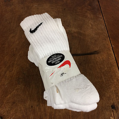 Made in USA 90's Vintage Nike Tube Socks White Black Shoes Basketball Hockey
