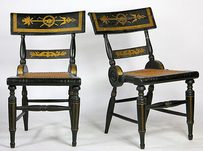 Antique Pair Federal/Baltimore Side Chairs c. 1820s Fancy Painted
