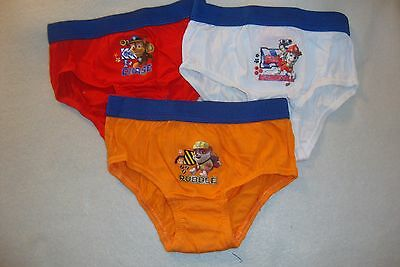 Paw Patrol Underwear Briefs Set Of 3 Rubble, Chase & Marshall 100% Cotton