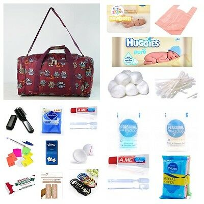 Pre-packed hospital/maternity bag Mum & Baby budget burgundy owl FREE NEXT DAY!