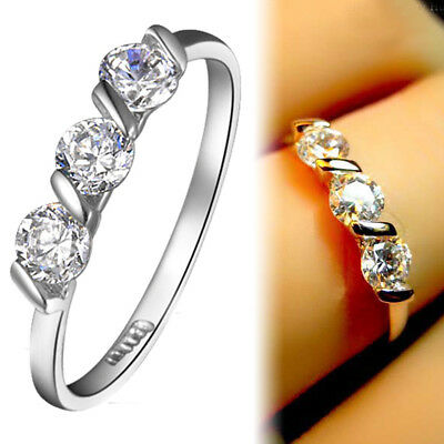 18K WHITE GOLD GF Simulated Diamond TRILOGY ETERNITY WEDDING BAND SOLID RING