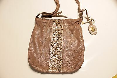 Fossil Studded Brown Leather Crossbody Bag