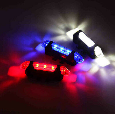 5 LED Rechargeable Bike Bicycle Cycling Tail Rear Safety Warning Light Lamp