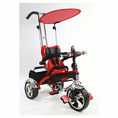 New Child Kids Smart Tricycle Trike 3 Wheel 4 In 1 Ride On Parental Handle Red