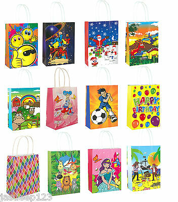 Party Gift Themed Paper Bags With Handles Children Birthday Christmas Shopping