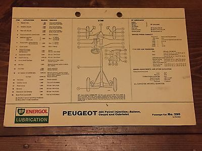 PEUGEOT 404 Injection BP lubrication chart. No.290 Free Postage UK SELLER