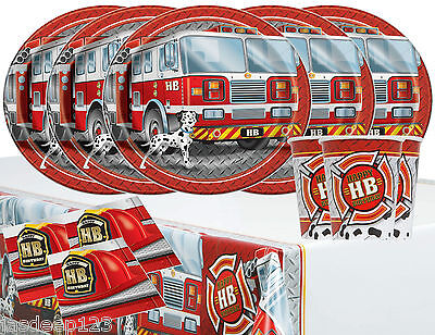 Fire Truck Engine Birthday Tableware Party Pack for 16 Fireman Red Dalmation Boy