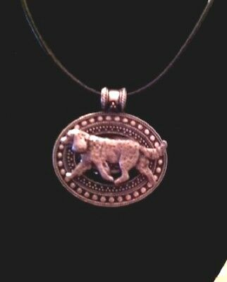 American Water Spaniel Dog Brass Medallion on leather cord~necklace
