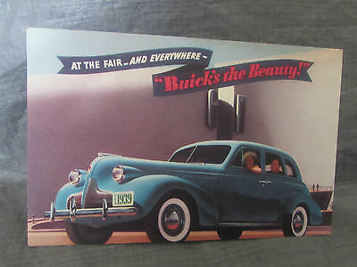 1939 Worlds Fair Buick's the Beauty Post Card G.M Automobile