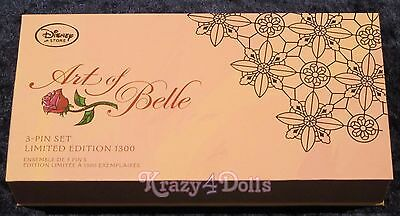 Disney Art of Belle Beauty and The Beast Limited Edition Boxed Pin Set of 3 New!