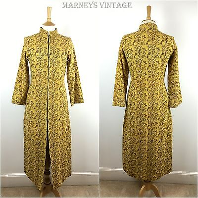 VINTAGE 1970s Maxi Coat Floral Bohemian Hippie made in India Yellow 70s Medium