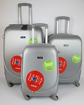 Set 3 Trolley Rigido Lucido 4 Ruote Abs Ultra Light Bagaglio A Mano Grey