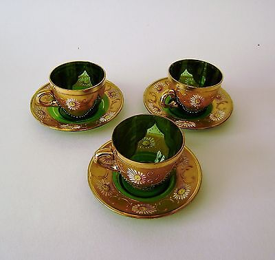 Murano Glass Cup & Saucer Vintage Hand Painted Italian Venetian 24 Kt Gold (N6)