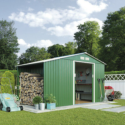9 x 4ft Apex Roof Green Outdoor Metal Garden Shed with Log Store by Waltons
