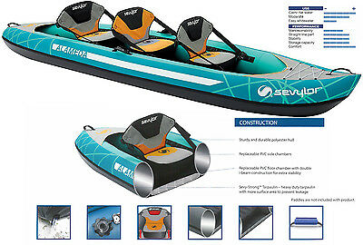 Sevylor Alameda 2 + 1 person Inflatable Kayak Canoe All Accessories Included