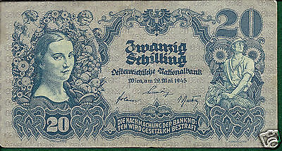 Austria P116 1945 20 Schilling Very Good