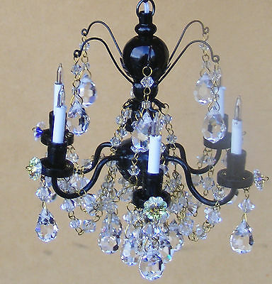 1:12th Real Crystal Black Colour 6 Arm Chandelier Dolls House Miniature 7001Bk