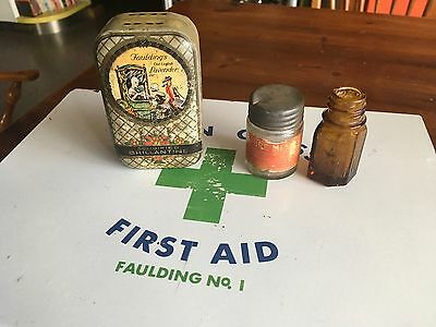 Vintage GREEN CROSS Faulting No 1 First Aid Cabinet & 2x Miniature Bottles