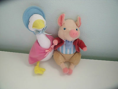 Jemima Puddleduck And Pigling Bland From Beatrix Potter Soft Toy Beanie