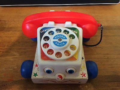 1961 Fisher Price #747 Wooden CHATTER PHONE ROTARY TELEPHONE
