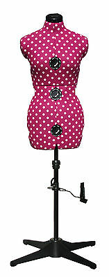 Adjustoform Cerise Polka Dot 8-Part Adjustable Dressmakers Dummy UK 10-16