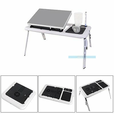 Portable Folding Laptop Desk Table Stand Tray Two Cooler Fans For Bed Sofa【UK】
