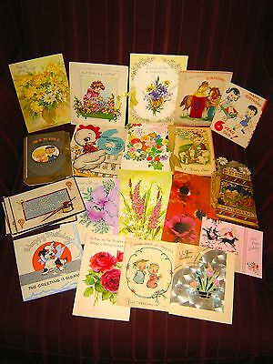 22 Vintage Greeting Cards -Birthday, Mother's Day, Etc...-