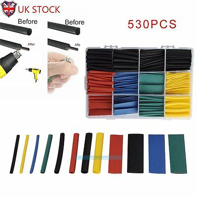 530pcs 2:1 Heat Shrink Tubing Assortment Wire Cable Insulation Sleeving Wrap【UK】