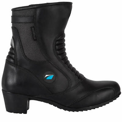 Spada Steel WP Waterproof Leather Ladies Motorcycle Motorbike Boots - Black