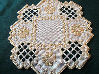 Hardanger  Doily Norwegian Embroidery Ecru with  Tans   Hand Made
