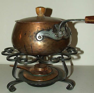 Vintage Deco Mid Century Stockli Netstal Swiss Copper Fodue Chafing Cooking Pot