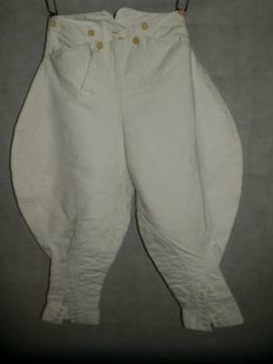 "Antique/Vintage pair of White Cotton Riding Breeches 27"" waist (A.P.DIPSTALE)"