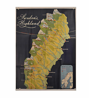 Map of Sweden Highland foldout Anders Beckman mid-century modern graphic 1953