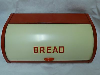 Vintage Retro 1950s Metal Roll Top Bread Bin Red Cream by Acme England