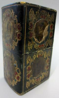 Antique Early Victorian Papier Mache Sewing Box With Portraits Unusual