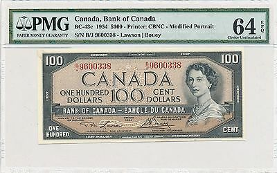 Bank of Canada $100 Dollars 1954 Lawson-Bouey BC-43c PMG64 Choice Unc
